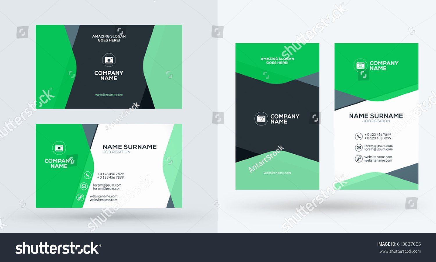Doublesided Creative Business Card Template Portrait Stock