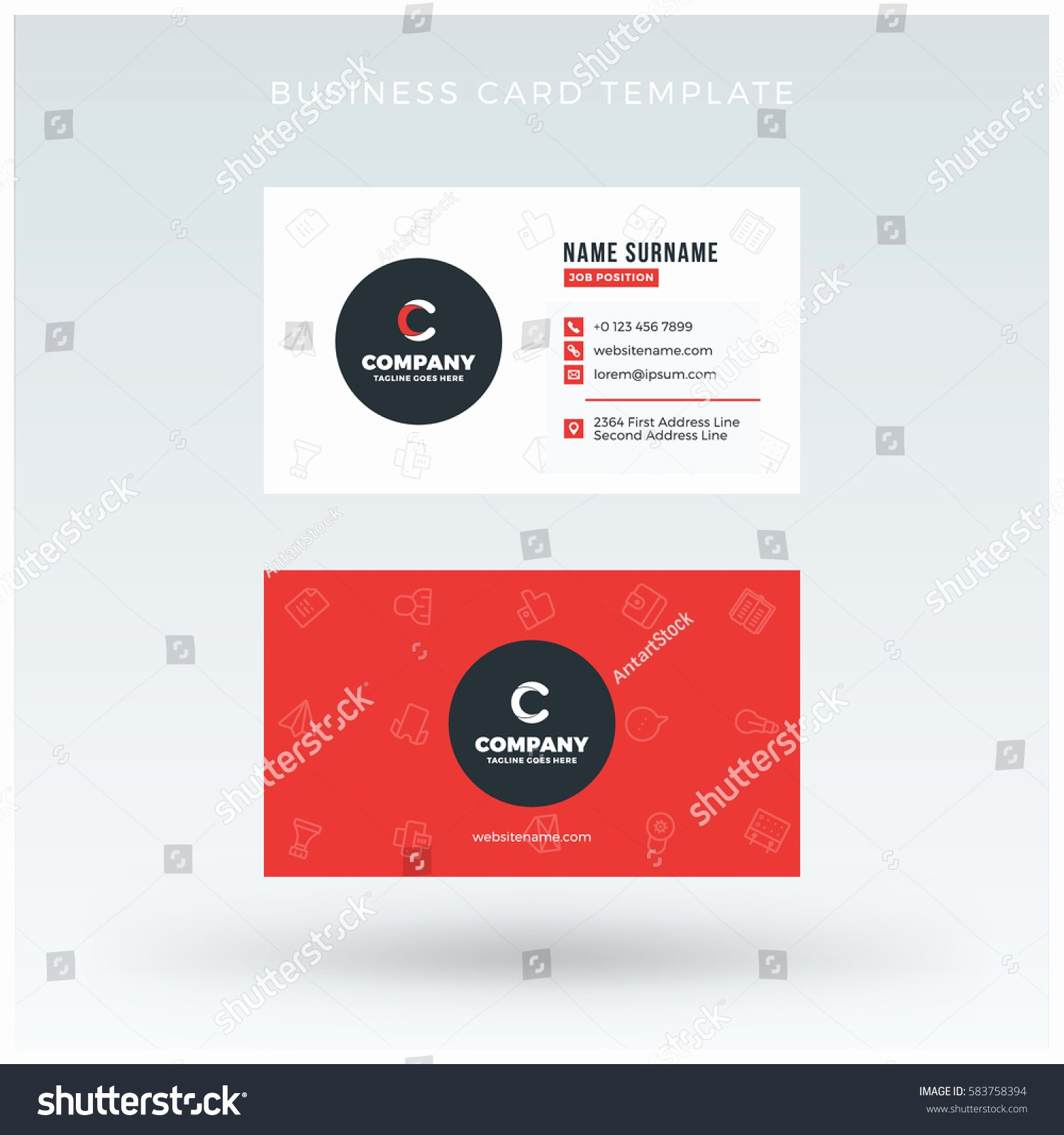 Doublesided Red Business Card Template Vector Stock Vector