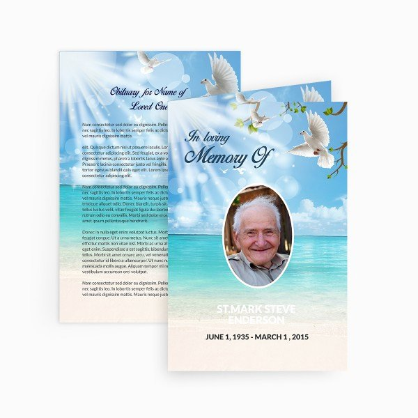 Dove Funeral Card Funeral Pamphlets