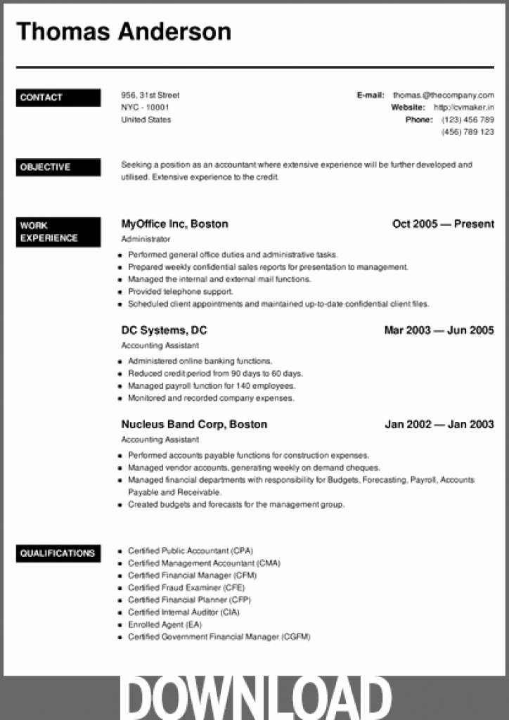 Download 12 Free Microsoft Fice Docx Resume and Cv
