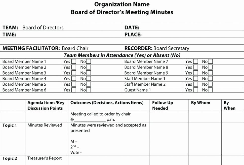 Download 14 Non Profit Board Meeting Minutes Template