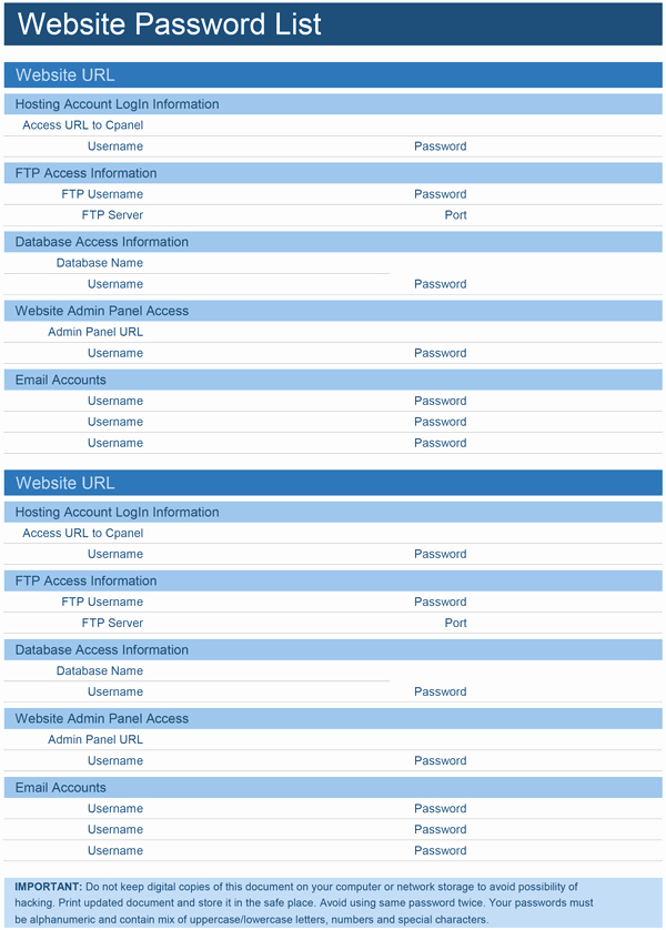 Download A Free Website Password List Template for