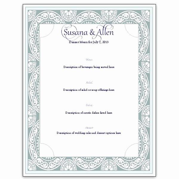 Download A Free Wedding Menu Card Template Diy and Save