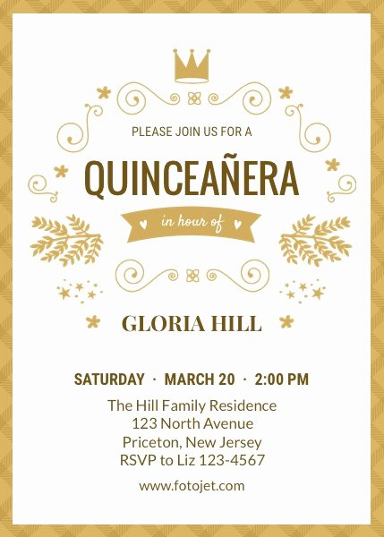 Download and Print Invitation Template for Quinceanera