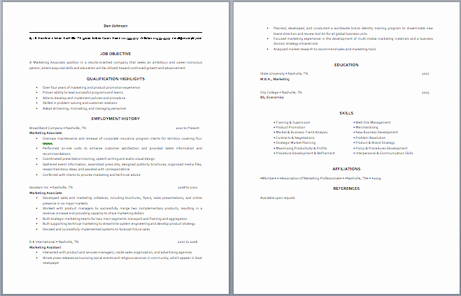 Download associate Degree Resume Sample