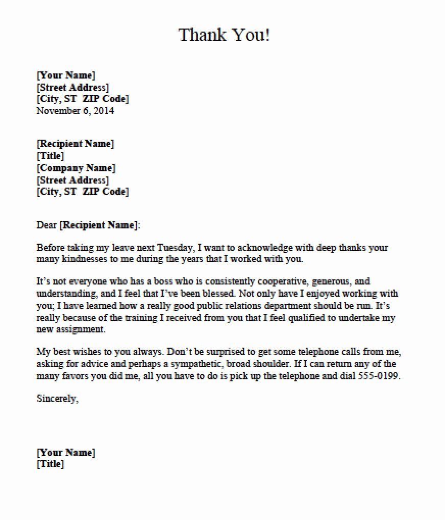 Download Boss Thank You Letter Templates Text