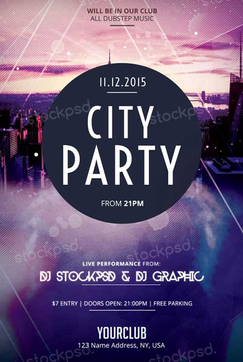Download City Party Free Psd Flyer Template for Shop