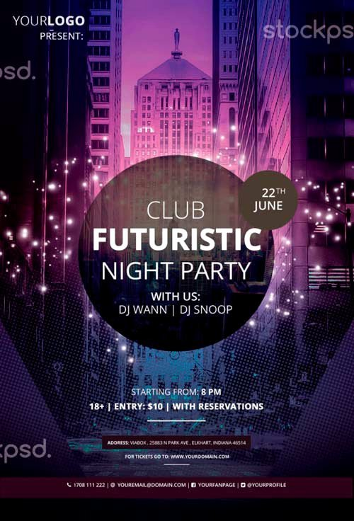 Download Club Futuristic Free Psd Flyer Template for Shop
