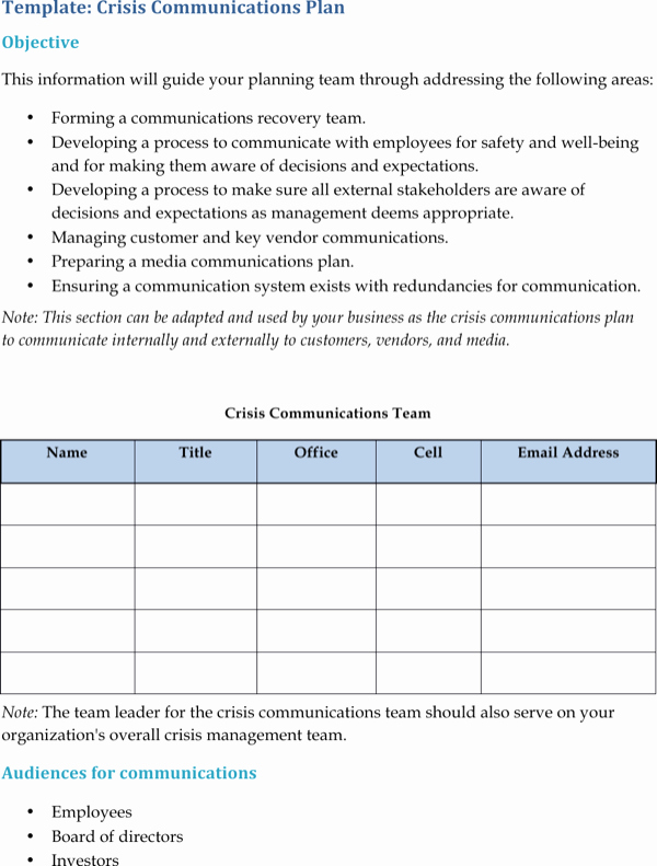 Download Crisis Munication Plan Templates for Free