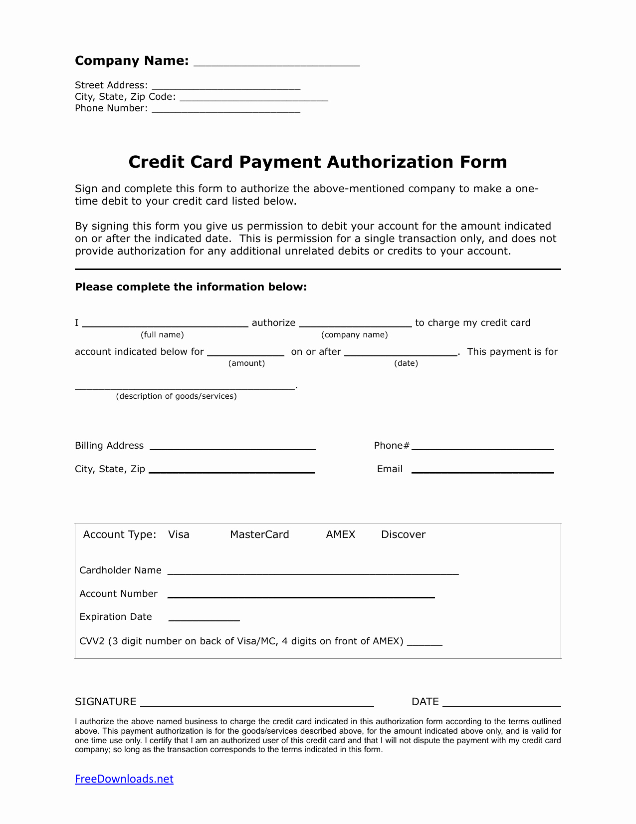 one 1 time credit card authorization payment form