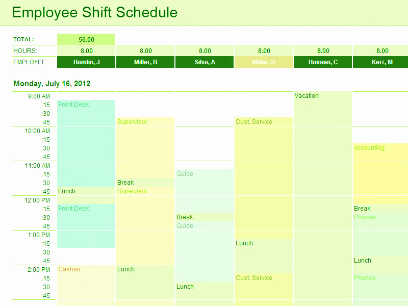 Download Employee Shift Schedule Template for Excel for