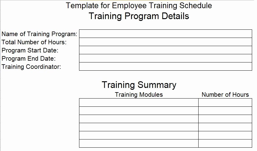 Download Employee Training Schedule Template for Pany