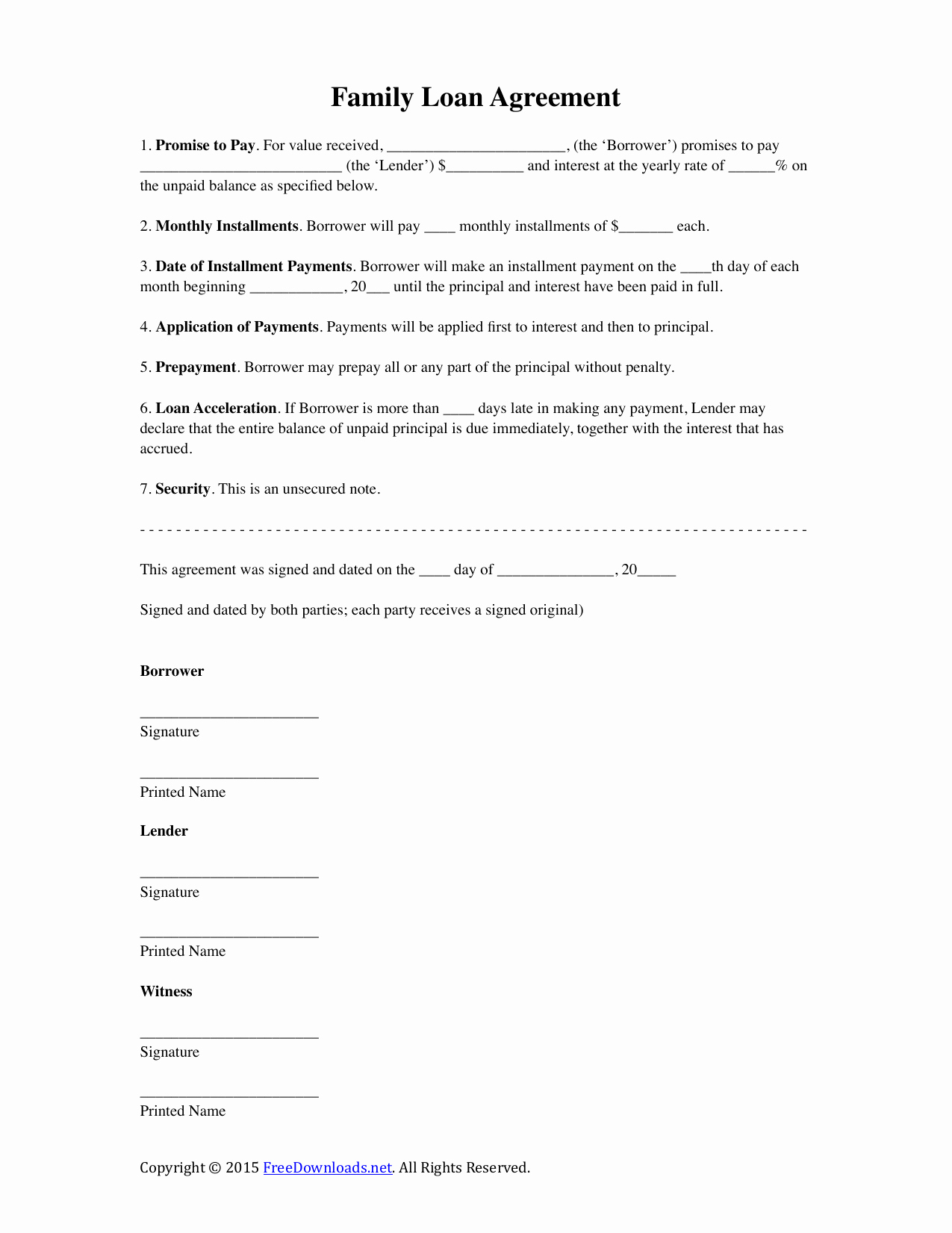Download Family Loan Agreement Template Pdf Rtf