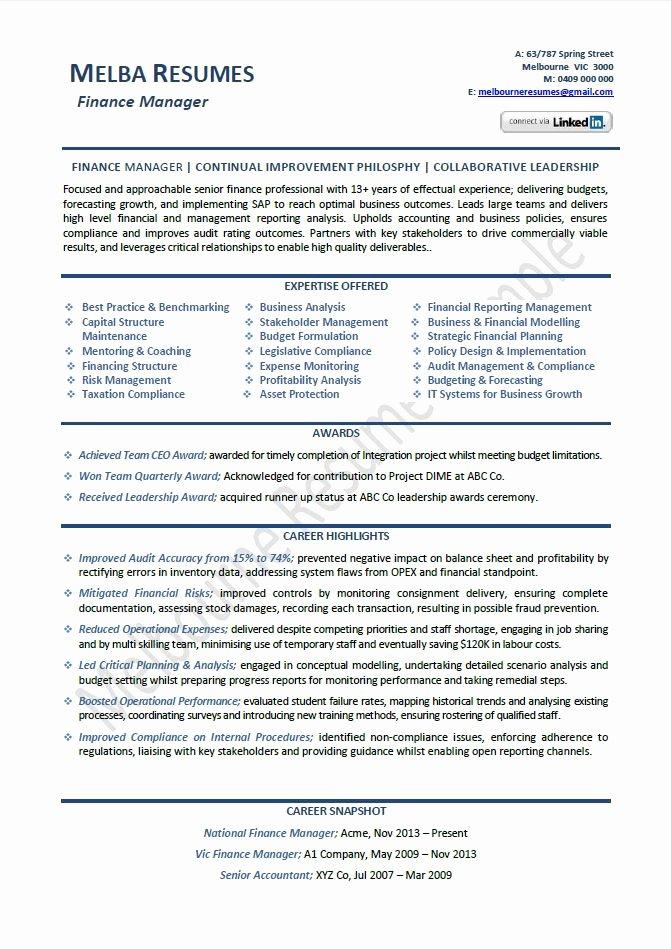 Download Finance Manager Resume Sample
