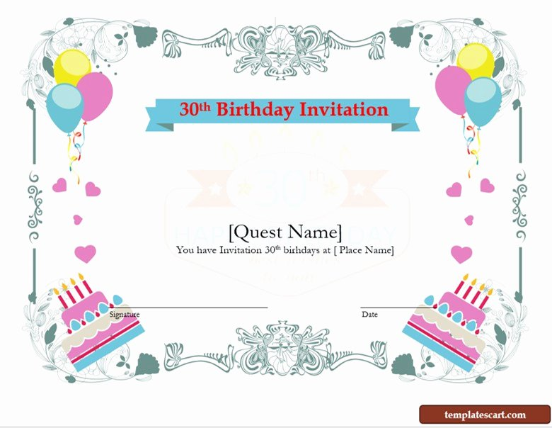 Download Free 30th Birthday Invitation Wording Templates
