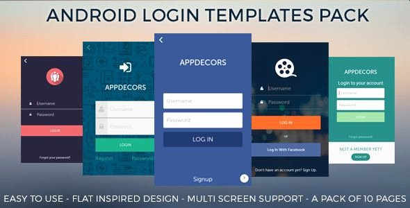 Download Free android Login Templates Pack android Flat