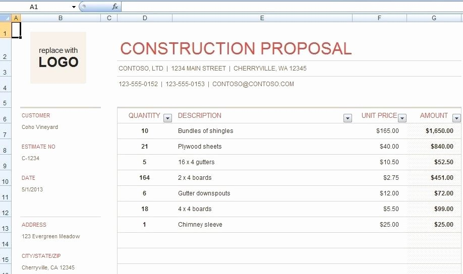 Download Free Construction Bid Proposal Template