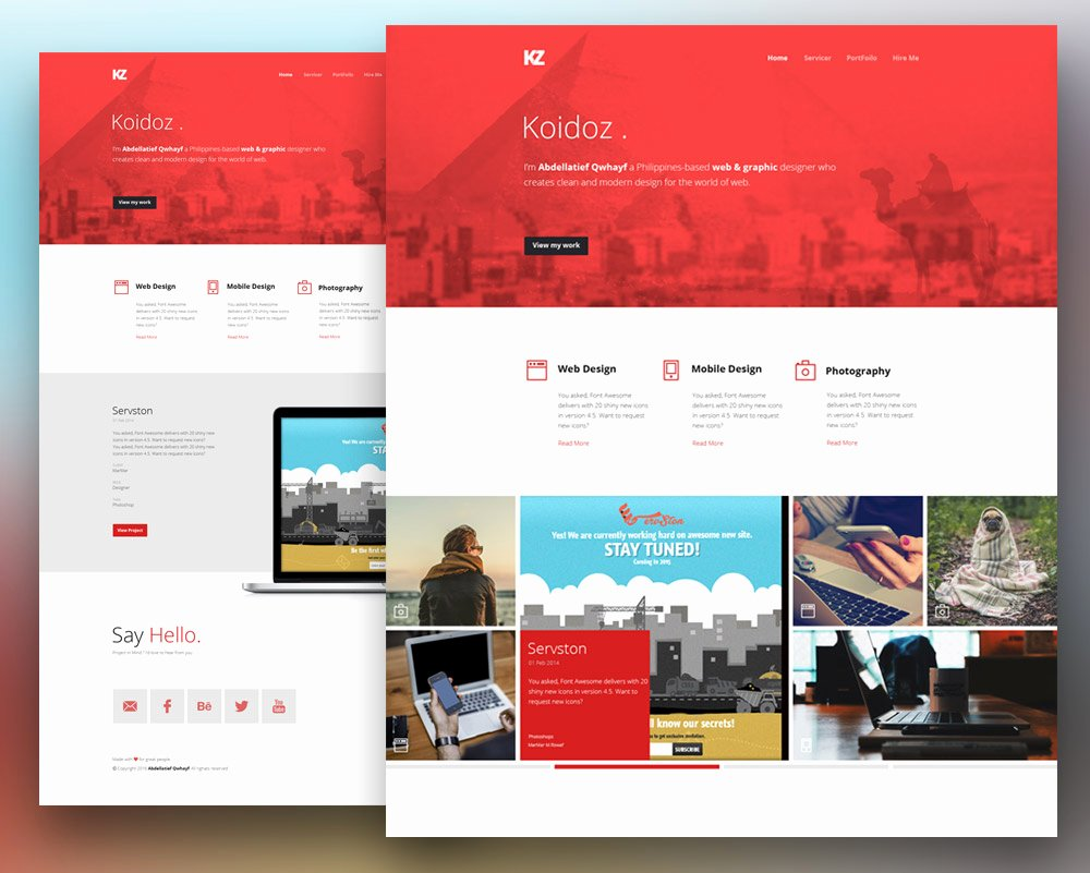 Download Free Creative Personal Website Template Free Psd