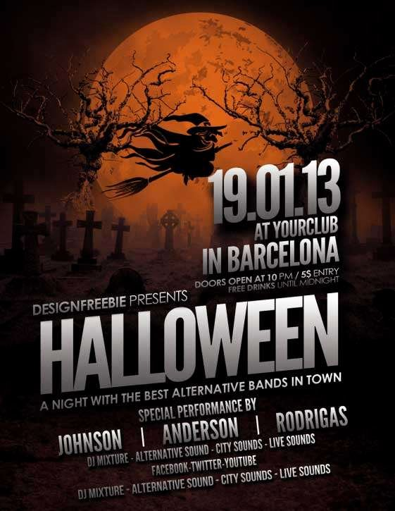 Download Free Halloween Flyer Psd Templates for Shop
