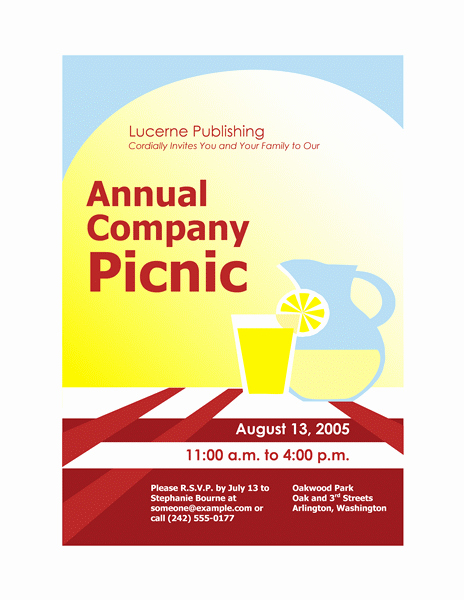 Download Free Printable Invitations Of Pany Picnic