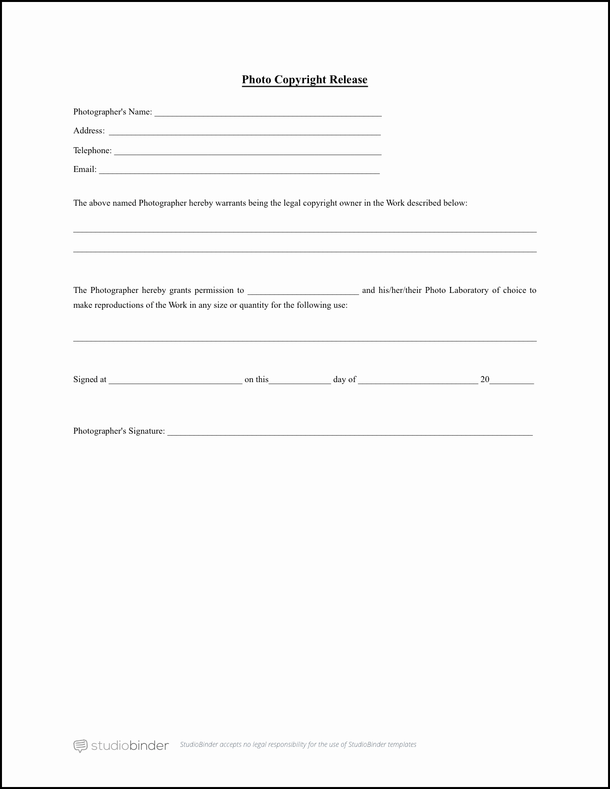 Download Free Release form Template