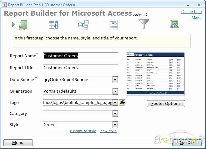 Download Free Report Builder for Microsoft Access 2007