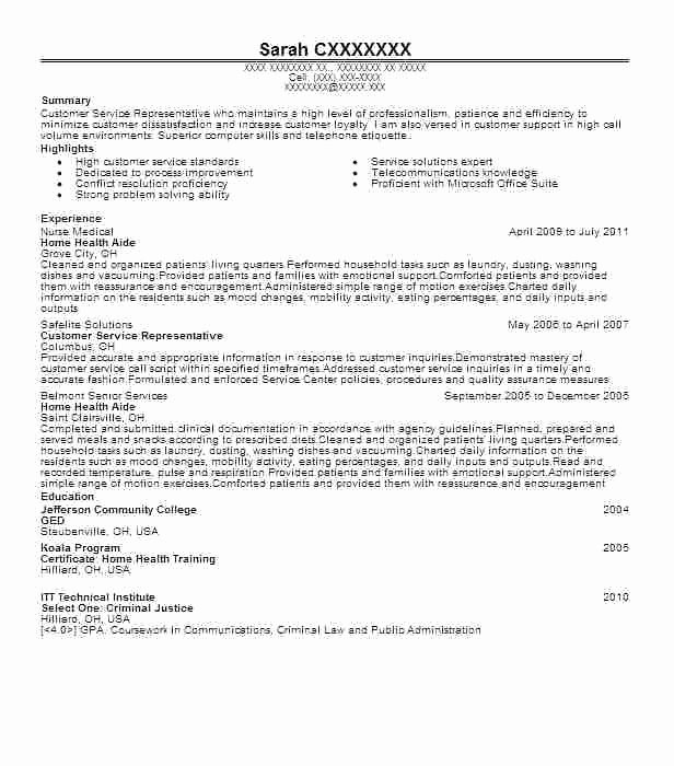 Download Home Health Aide Resume Sample