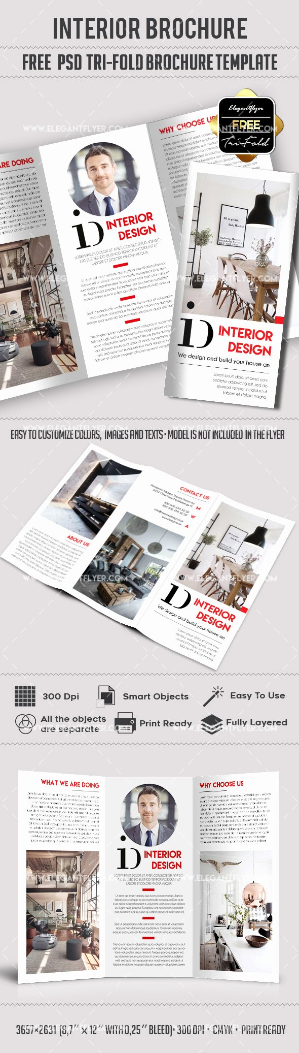 Download Interior Design – Free Psd Tri Fold Psd Brochure