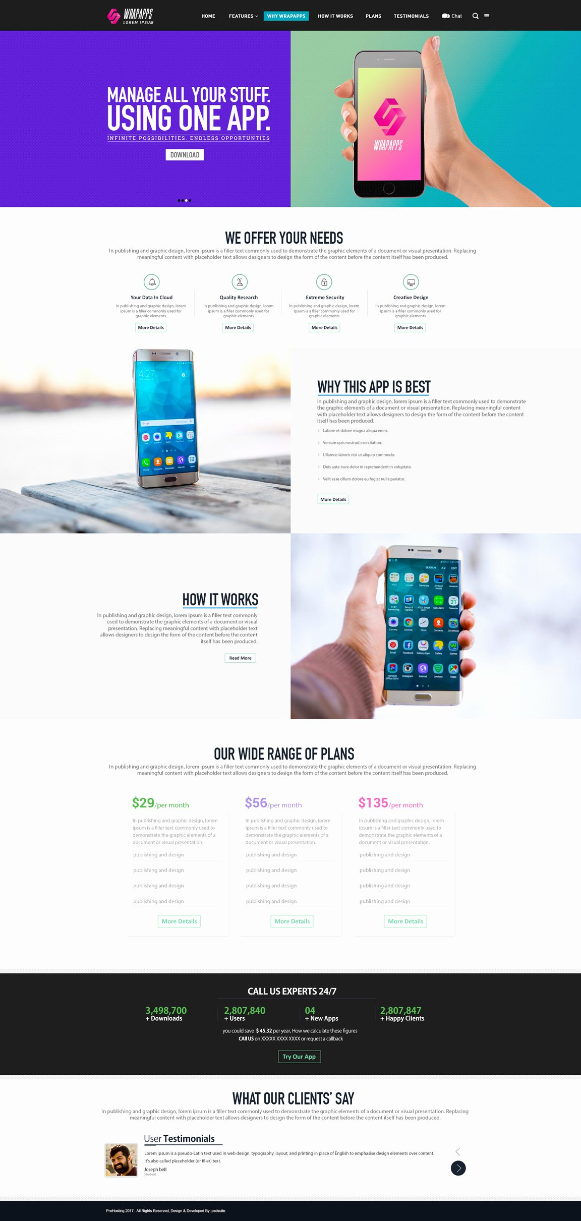 Download Mobile App Landing Page Template Psd Free