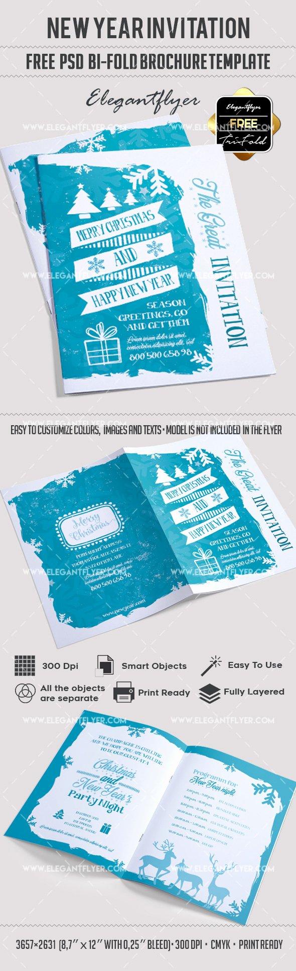 Download New Year Invitation – Free Bi Fold Psd Brochure