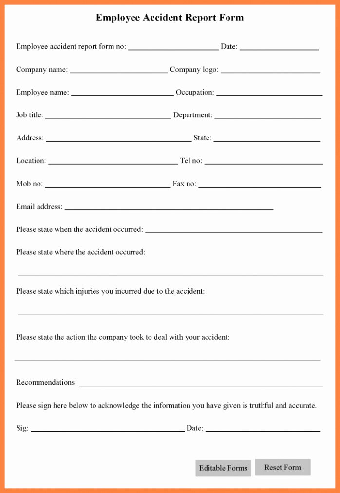 Download now 10 Accident Report form Template Gain