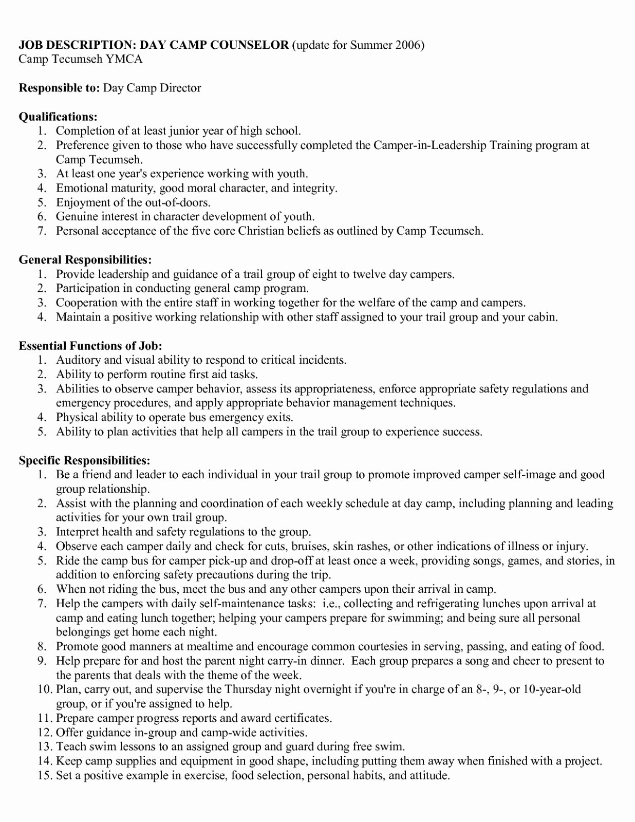 Download Our Sample Summer Camp Counselor Resume