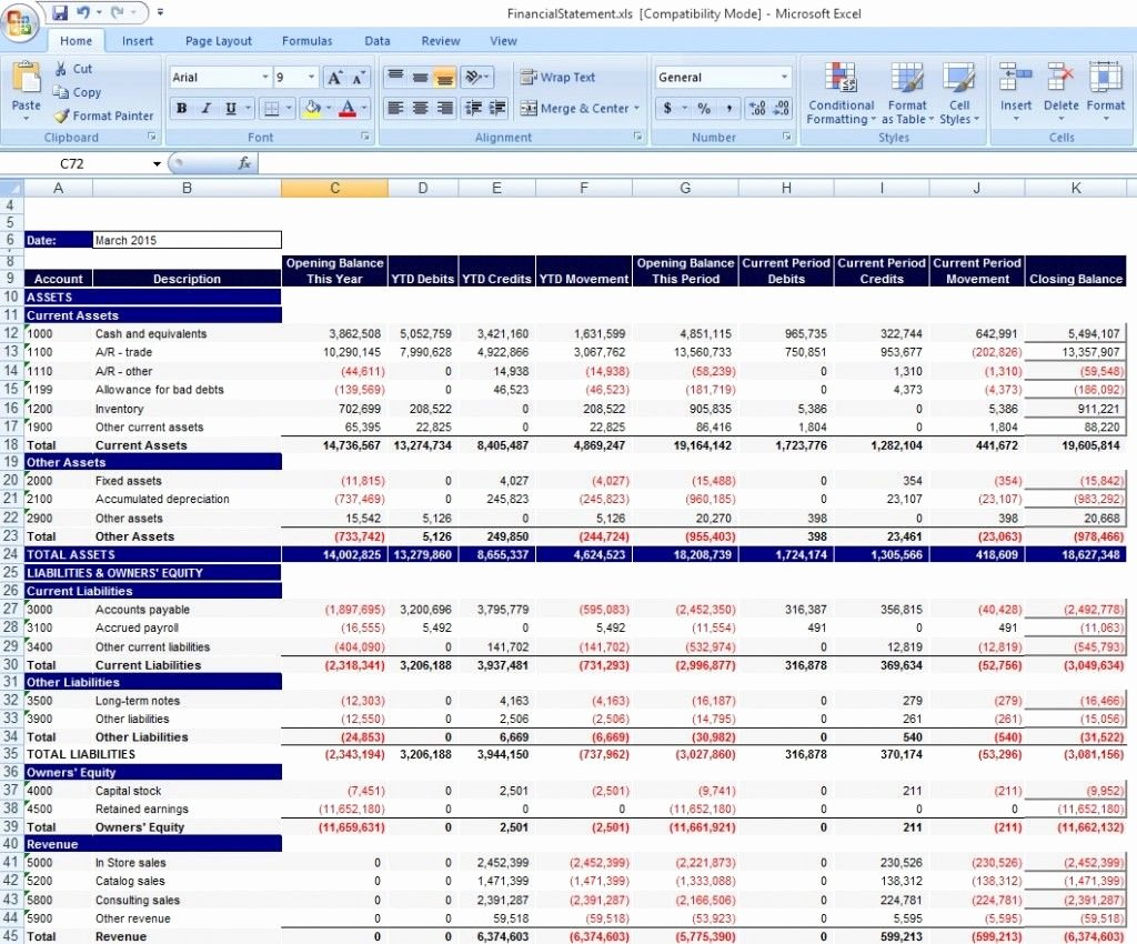 Download Personal Financial Statement Template Excel From