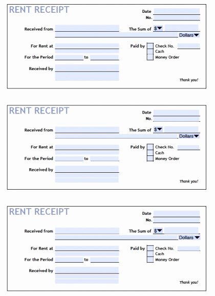 Download Printable Rent Receipt Templates Pdf