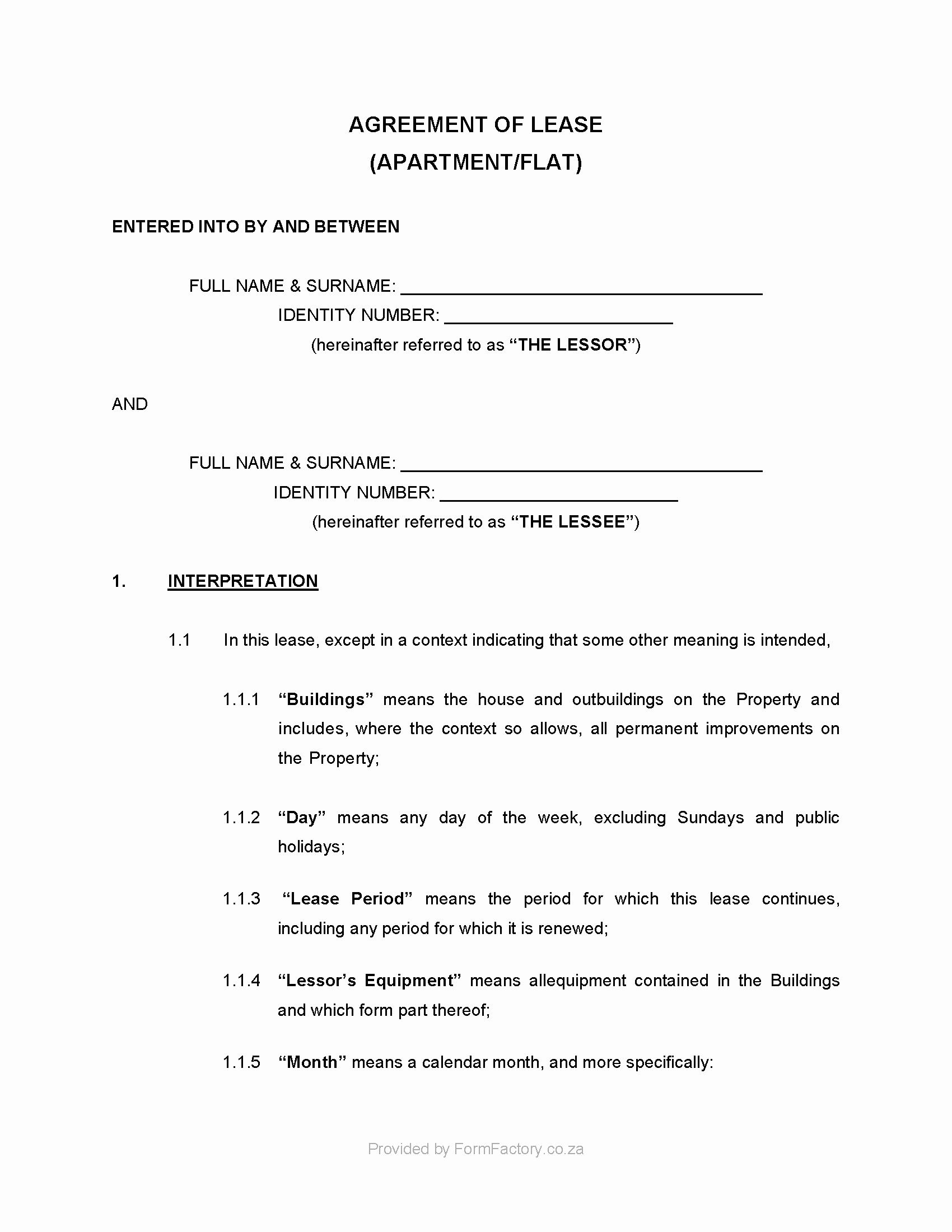 Download Residential Lease Agreement Template formfactory