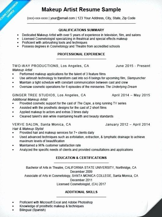 Download Resume Sample for Makeup Artist