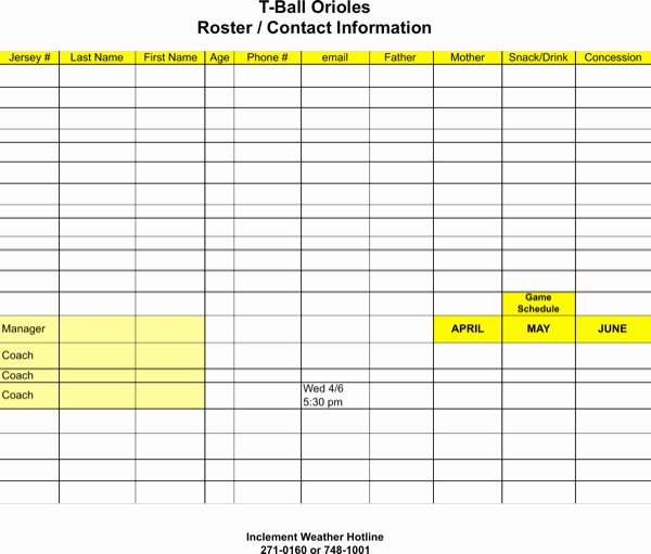 Download Roster Game Snack Schedule for Free formtemplate