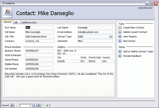 Download Sales Contact Management Database Template for