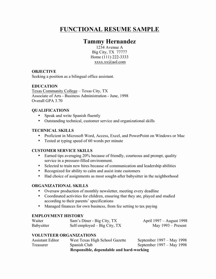 Download Sample Functional Resume Template Free Download