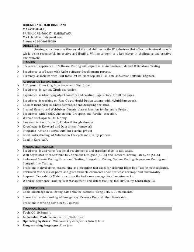 Download Sample Resume for Selenium Automation Testing