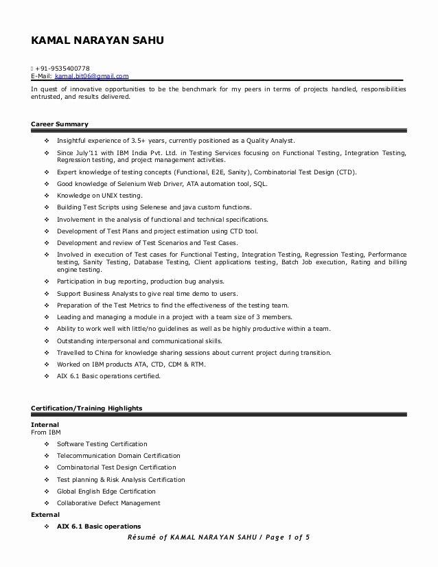 Download Selenium Automation Testing Resume Sample