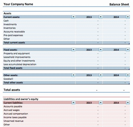 Download Simple Balance Sheet Template Microsoft Excel