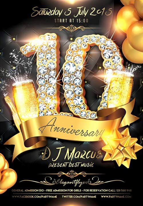 Download the Anniversary Celebration Free Flyer Template