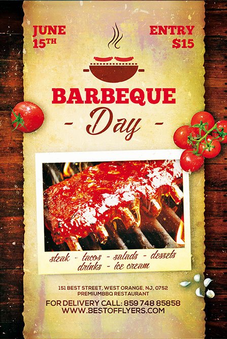 Download the Bbq Day Free Poster Template for Shop
