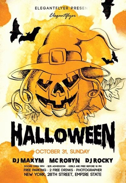 Download the Night Halloween Free Flyer Template for Shop
