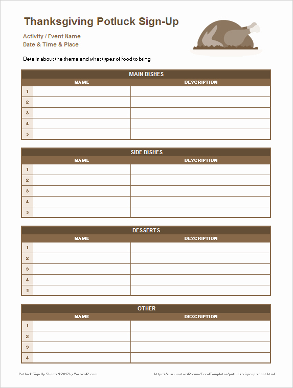 Download the Thanksgiving Potluck Sign Up Sheet From