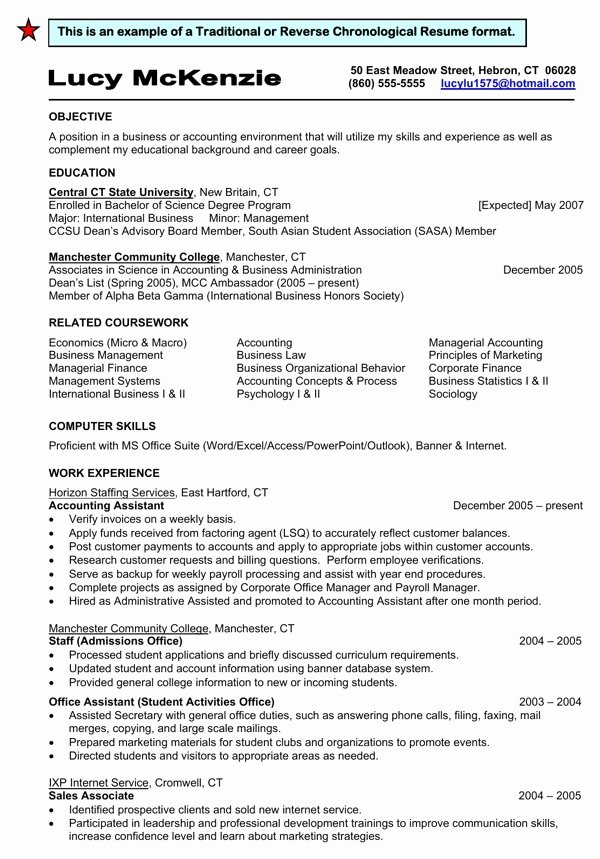 Download Traditional Reverse Chronological Resume format