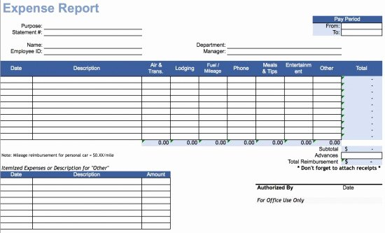 Download Travel Expense Report Template Excel
