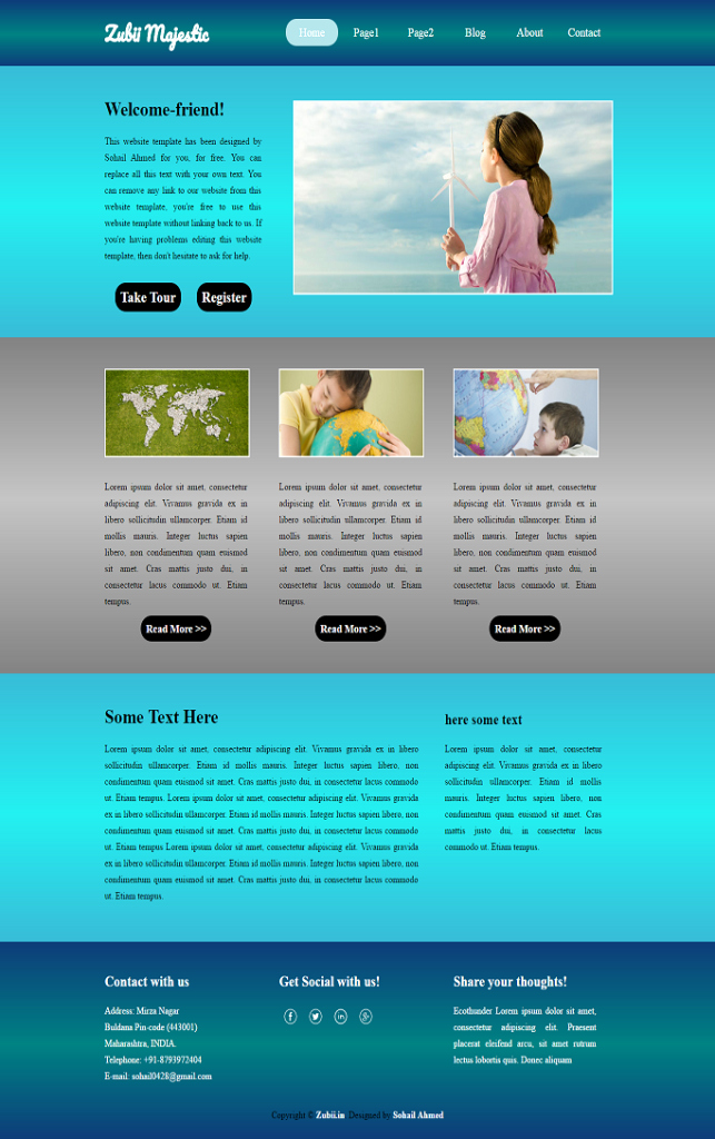 "Download Website Template for Free ""zubii Majestic"