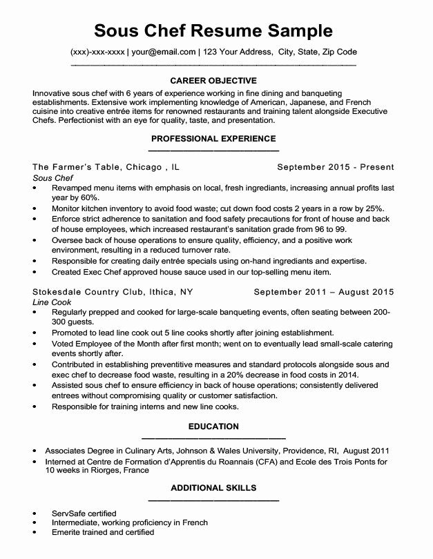 Downloadable Chef Resume Samples & Writing Tips